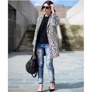 Zara Woman cotton crop sleeve leopard print coat